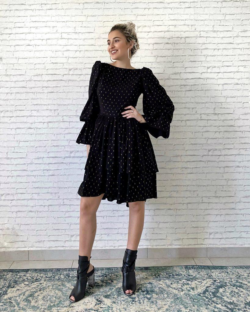Rochie neagră cu mâneci Malluce