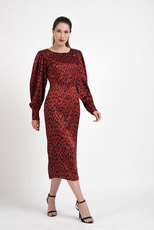 Rochie print, rochie rosie, rochie rosu-negru, rochie de seara