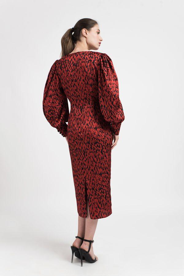 Rochie midi lung, rochie rosie, rochie print, leopard print
