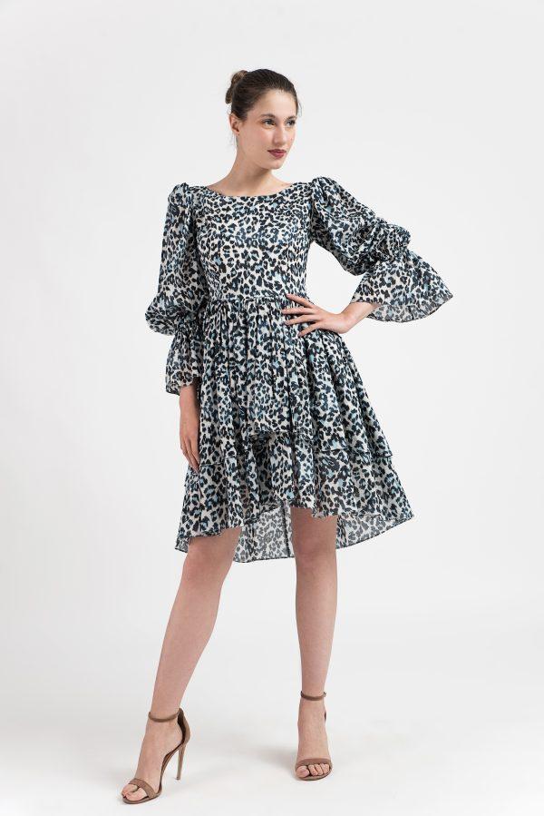Rochie print leopard, Rochie midi bumbac, Rochie print, Rochie albastra