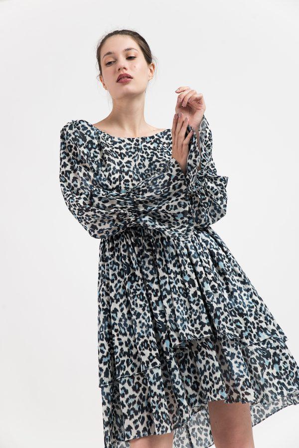 Rochie print leopard, Rochie albastra, Rochie print, Rochie vara