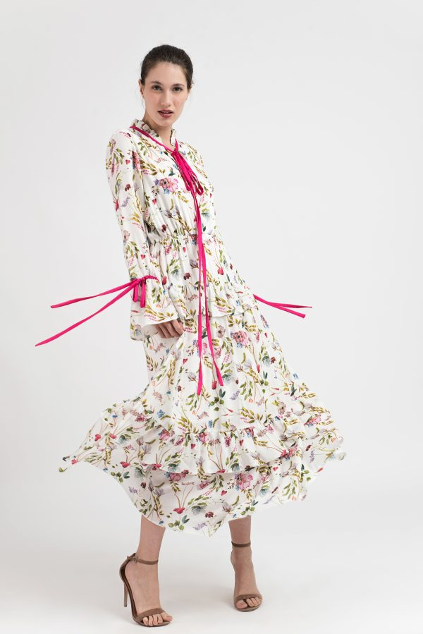 Rochie lunga bumbac, Rochie model floral, Rochie Malluce, Rochie boho-chic, model floral, panglici, fuchsia