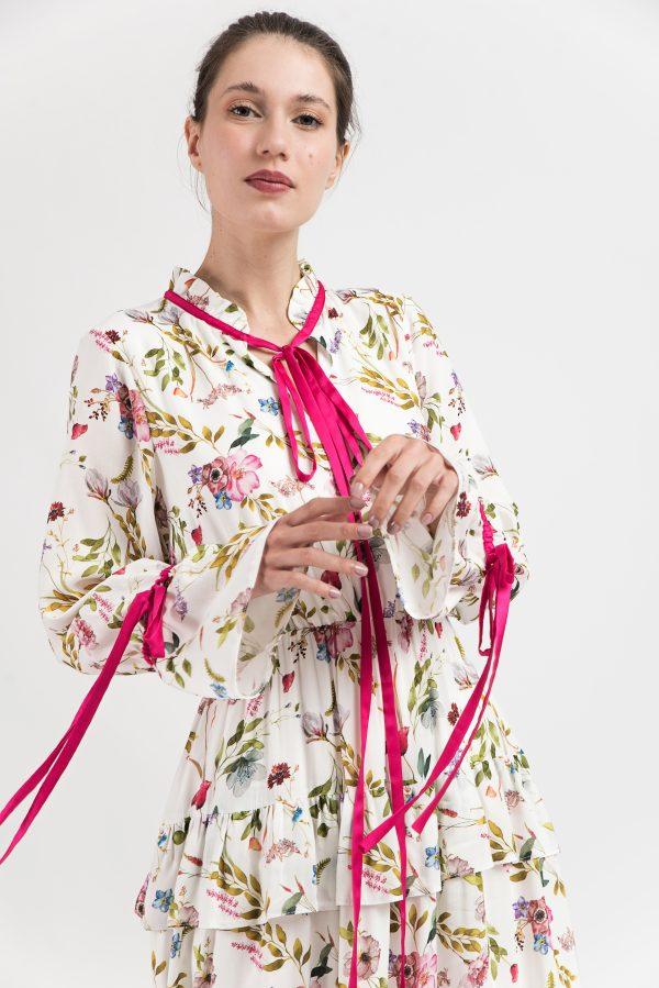 Rochie midi lung, model floral, print flori, boho-chic, print romantic
