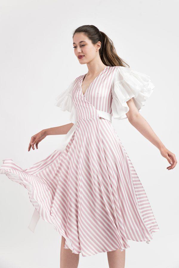 Rochie eveniment, Rochie Malluce, print dungi, rochie satin, rochie midi, rochie eleganta, rochie casual chic, rochie boho-chic