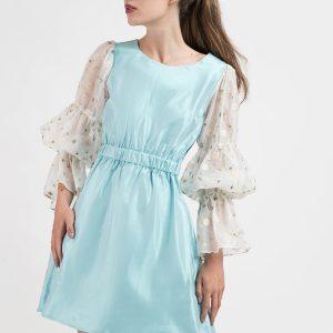 Rochie tafta, maneci organza, organza brodata, rochie eveniment, rochie ocazie, rochie mini