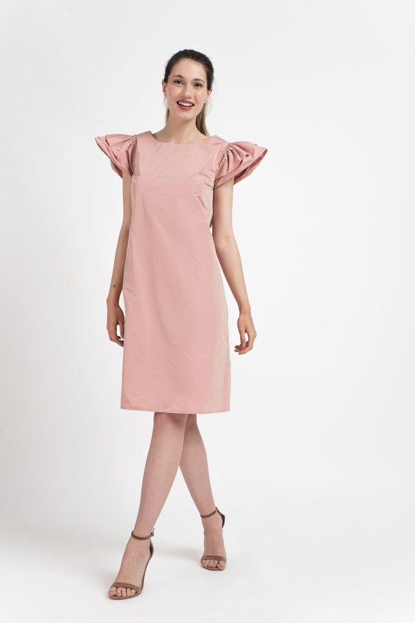 Rochie midi spate V, Rochie tafta, Rochie reflexii, rochie midi, rochie zi, rochie casual